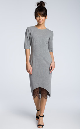 Grey midi dress with a lace hem by MOE