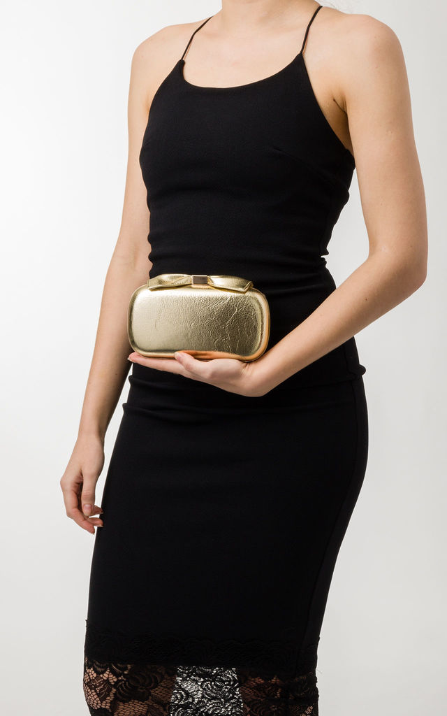 Estelle Gold Metallic Clutch Bag by KoKo Couture