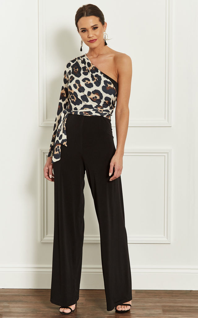One Shoulder Jumpsuit With Leopard Top by John Zack