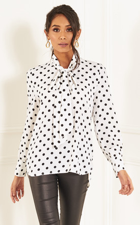 White Polka Dot Pussy Bow Top by Bella and Blue Product photo
