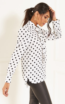 White Polka Dot Pussy Bow Top by Lilah Rose