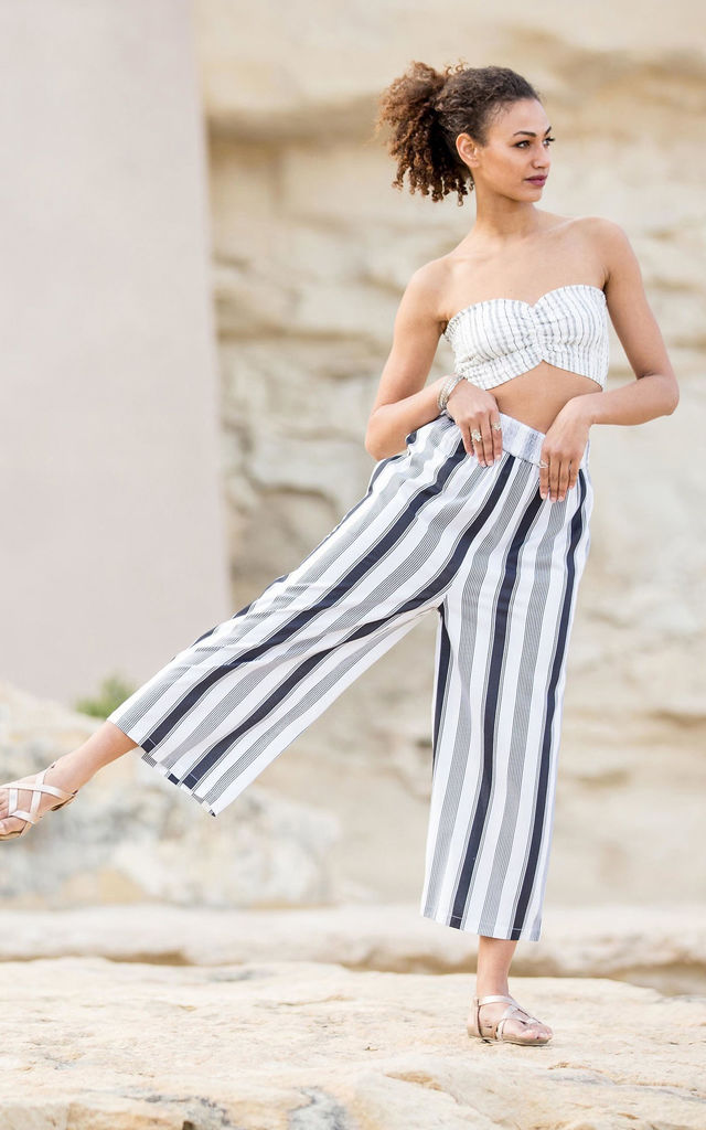 2 in 1 Wide Leg Stripes Culotte Jumpsuit and Trousers by likemary