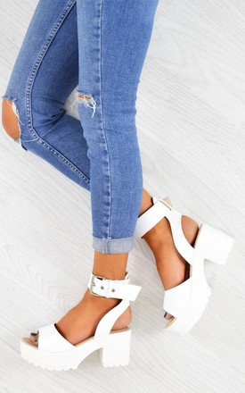 9243132d376 Chunky Platform Sandals White Pu. £40.00. Lace Up Block Heel Knee High  Boots Black Suede ...