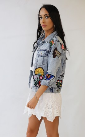 Denim Summer Embroidered Badge Jacket by Wired Angel