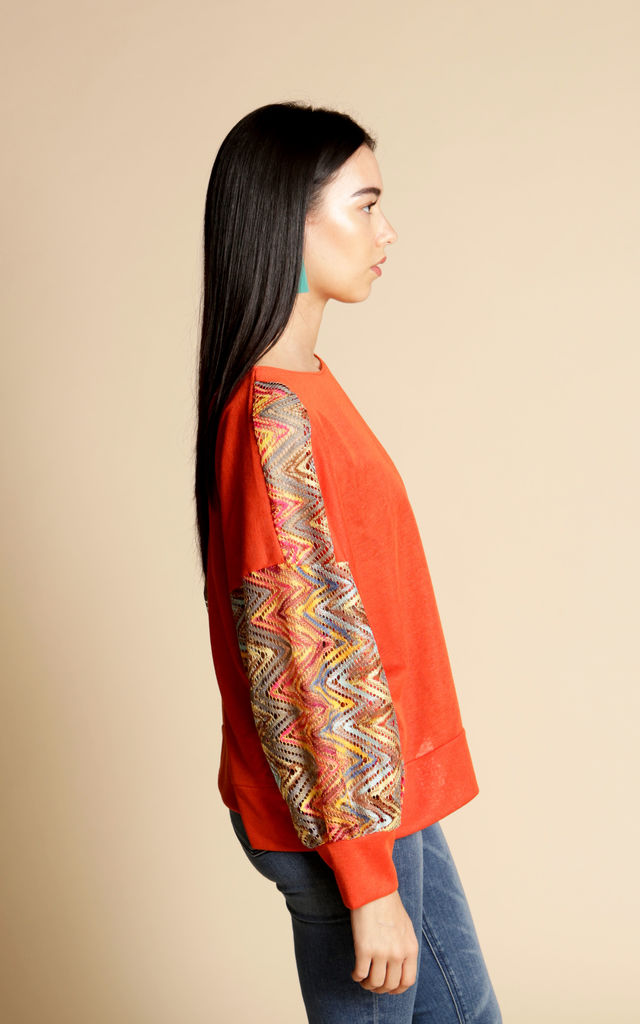 Orange Oversized Top With Zig Zag Sleeves by Minkie