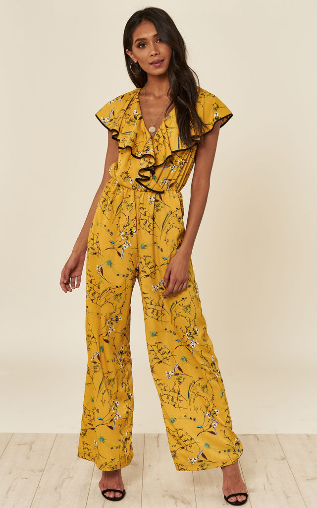 Yellow Floral Culotte Jumpsuit by ANGELEYE