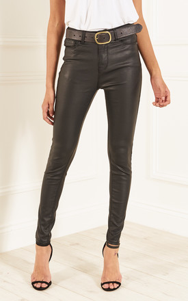 Black PU Leather Trousers by Bella and Blue