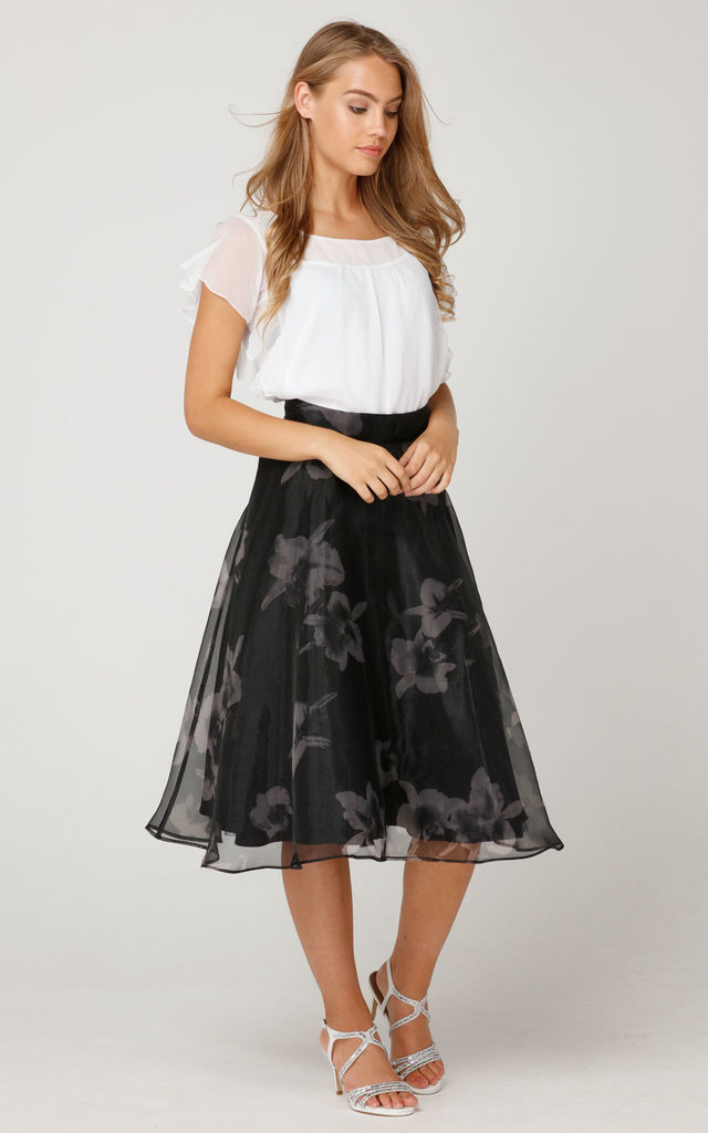Organdy Flower Print Skirt by L'Atelier London
