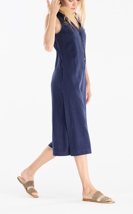 Side Vent Jumpsuit with Button Front in Navy by Paisie