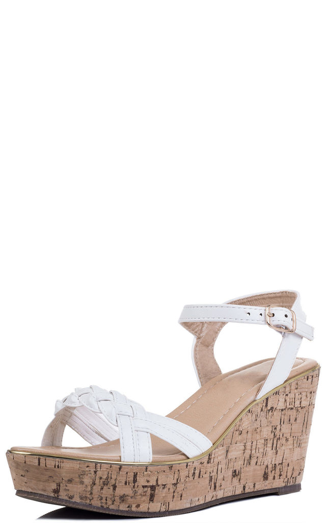 BEYOND BELIEF Cork Style Wedge Heel Sandals Shoes - White Leather Style by SpyLoveBuy