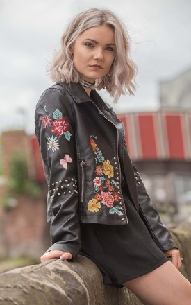 Black  Floral Embroidered Studded Detail Biker Leather Jacket by Urban Mist