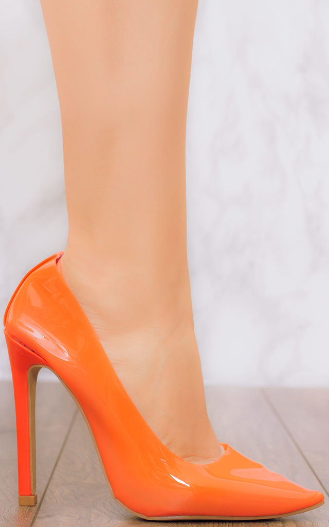 BRAND SPANKING NEW Zip High Heel Stiletto Shoes - Orange Synthetic by SpyLoveBuy