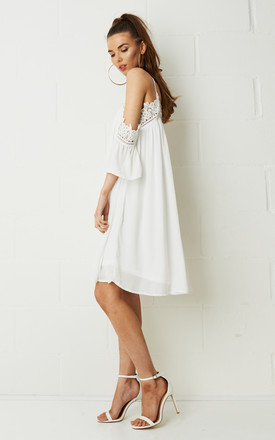 Lolita Cold Shoulder Smock Dress in White by Frontrow Limited