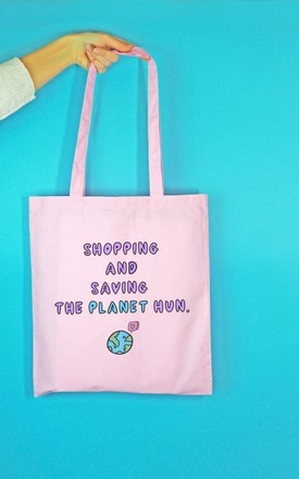 Shopping and Saving The Planet Tote Bag by Rock On Ruby
