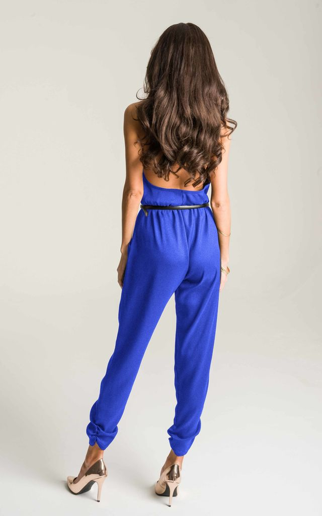 Cobalt Blue Halter Neck Jumpsuit by Lady Flare