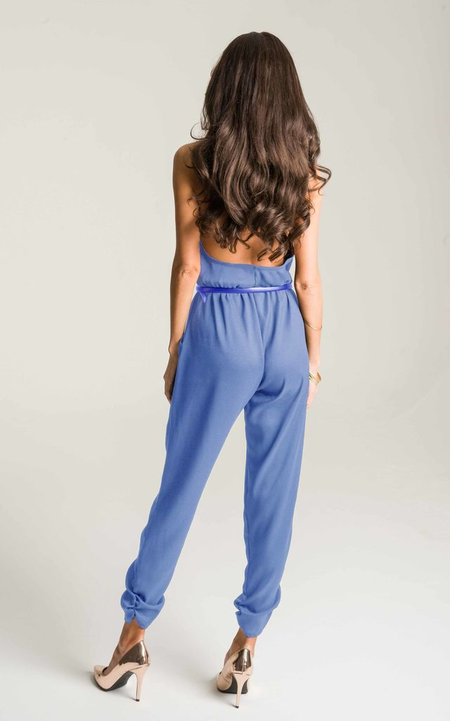 Lilac Blue Halter Neck Jumpsuit by Lady Flare