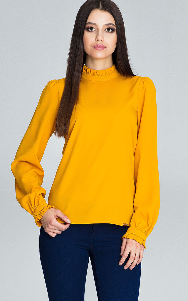 Mustard Blouse With Long Sleeves by FIGL