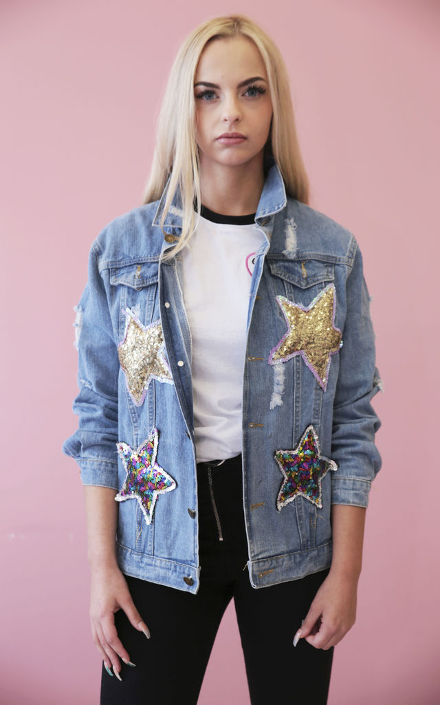 True Love Sequin Denim Jacket by Isolated Heroes