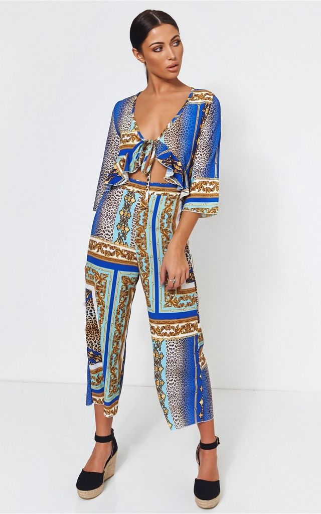 Brion Blue Baroque Print Frill Jumpsuit by The Fashion Bible
