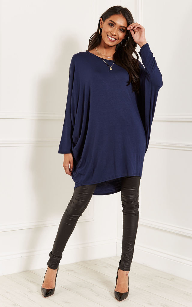 Navy oversized open neck top by Lilah Rose