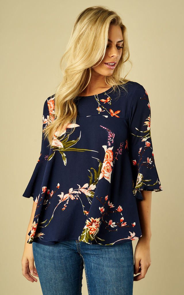 Navy Floral Print Flared Blouse by AX Paris