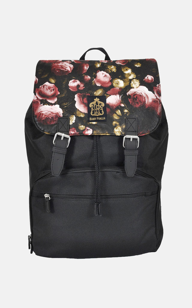 Winter floral Panel Laptop Backpack by The Left Bank