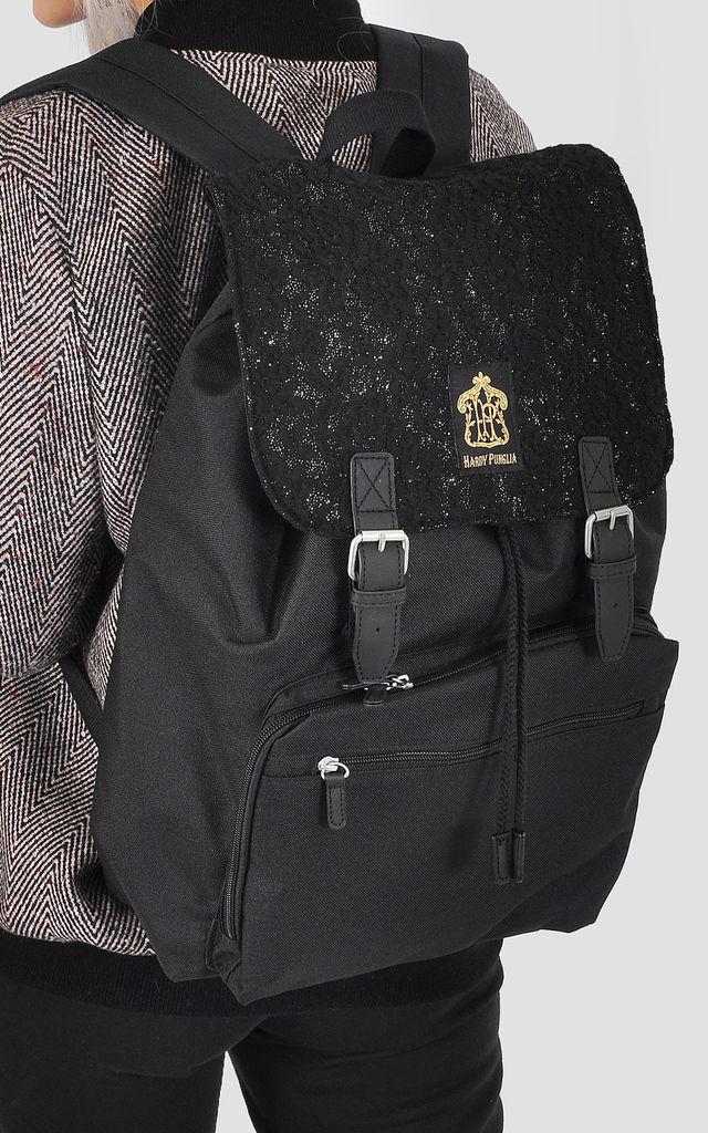 Black lace panel laptop backpack by The Left Bank