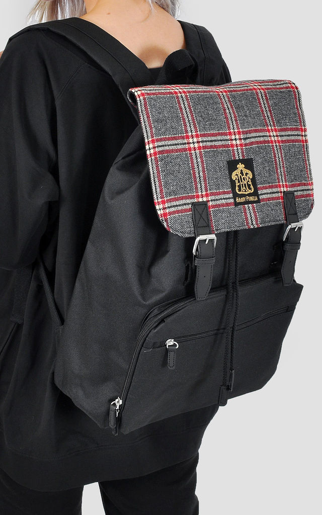 Tweed check panel laptop backpack by The Left Bank