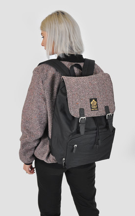 Pink wool Herringbone panel laptop backpack by The Left Bank