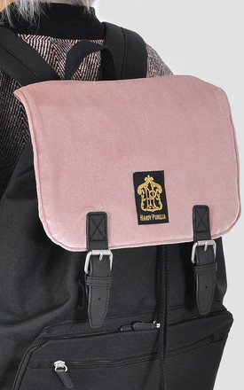 Pink velour panel laptop backpack by The Left Bank