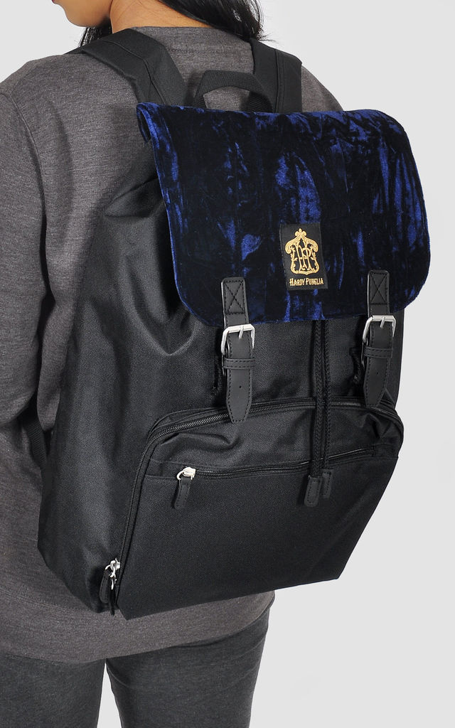 Navy Velvet panel laptop backpack by The Left Bank