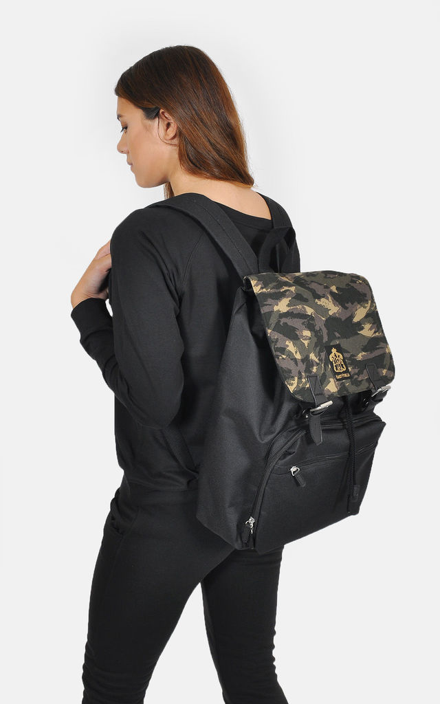 Camouflage panel laptop backpack by The Left Bank