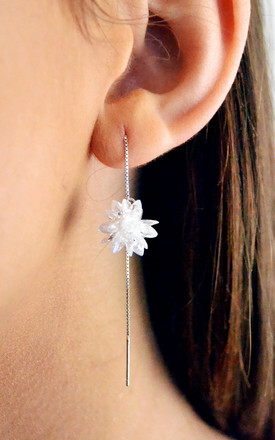 Sterling Silver Frozen Flower White Flakes Crystal long threader earrings. by Kusuz Silver Jewellery