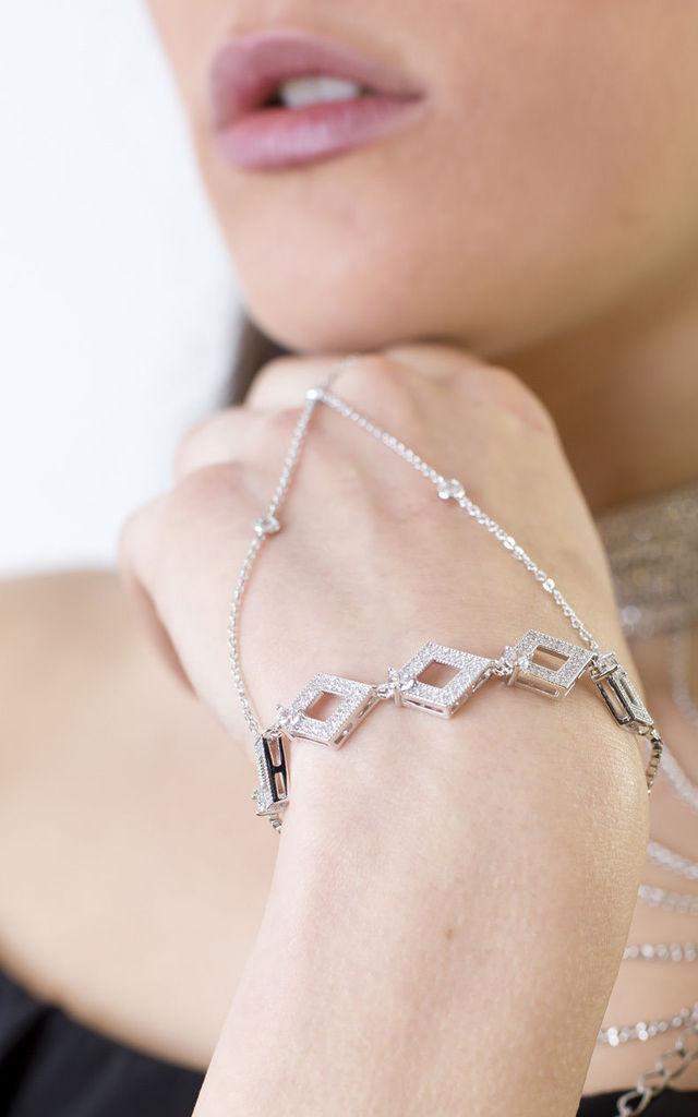 Silver love Diamond Chain Hand Harness by Free Spirits