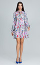 Long Sleeve A-Line Dress in Multi Retro Floral Print by FIGL