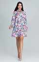 Long Sleeve A-Line Dress in Retro Floral Print by FIGL