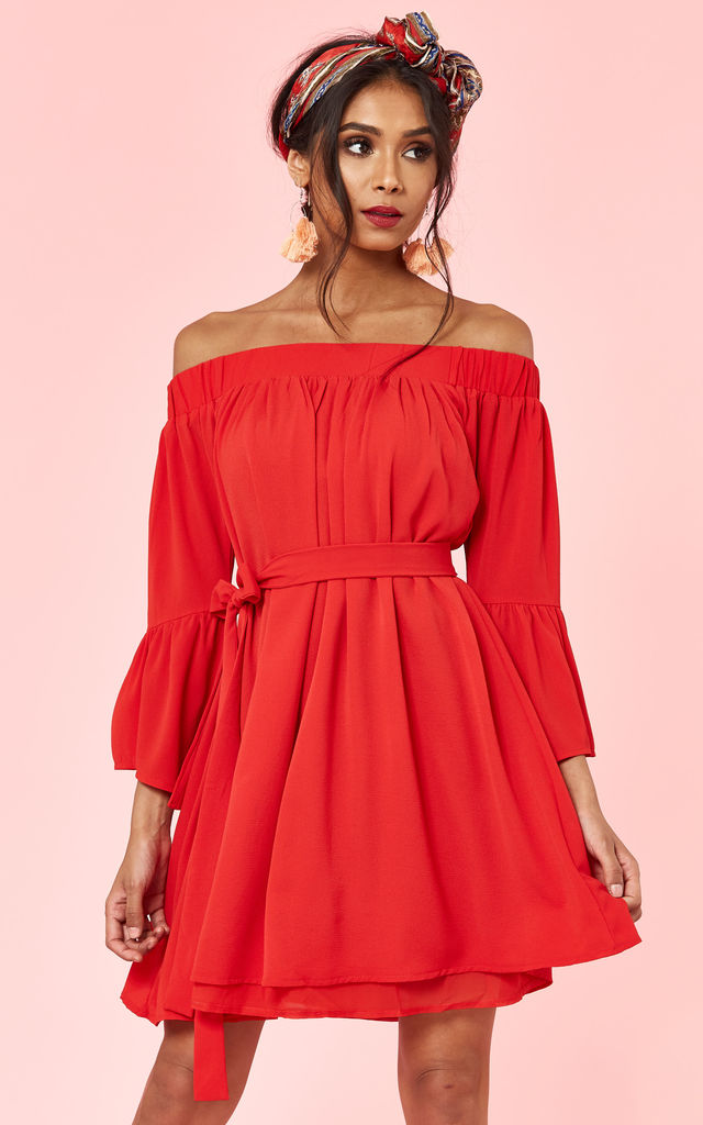 69916fd2d66 Red Off Shoulder Bell Sleeve Dress by Glamorous