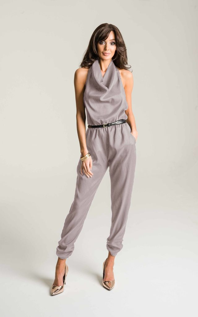 Mocha Halter Neck Jumpsuit by Lady Flare
