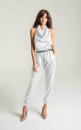 White Halter Neck Jumpsuit by Lady Flare