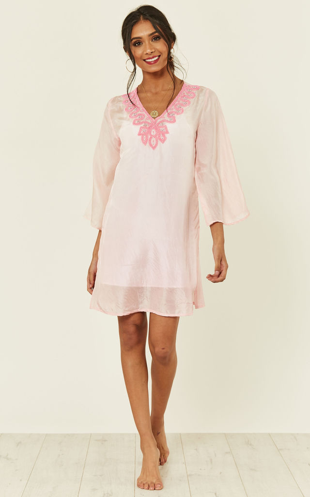 Cuba Silk Beaded Pink Kaftan by Kitten Beachwear