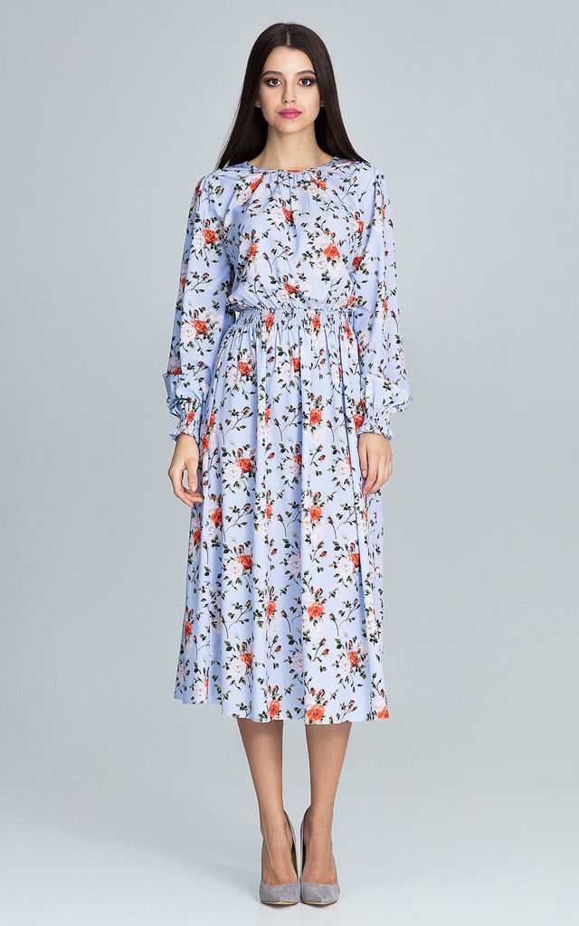 Long sleeve midi dress in light floral print by FIGL