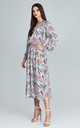 Floral Print Long Dress With Sleeves by FIGL