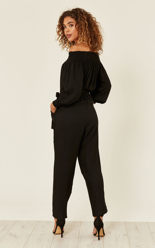 Off Shoulder Bardot Jumpsuit Long Sleeves Noelia Black by likemary