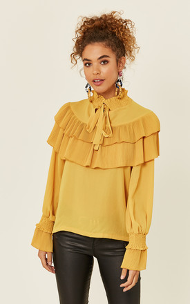 Mustard High Neck Ruffle Blouse by Oeuvre