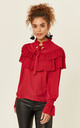 Red High Neck Ruffle Blouse by Oeuvre