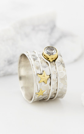 Celestial Moon Silver Gemstone Ring by Charlotte's Web Product photo