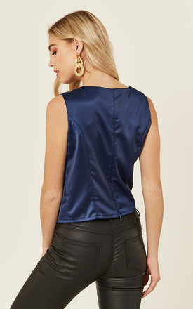 Navy Shimmer Satin Sleeveless Top by ANGELEYE