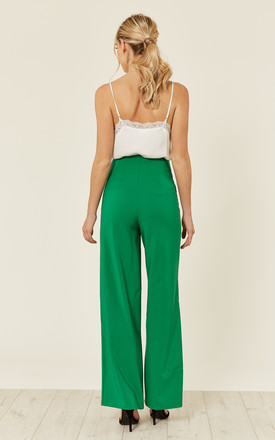 WIDE LEG TROUSER WITH GOLD BUTTON DETAIL IN GREEN by FLOUNCE LONDON