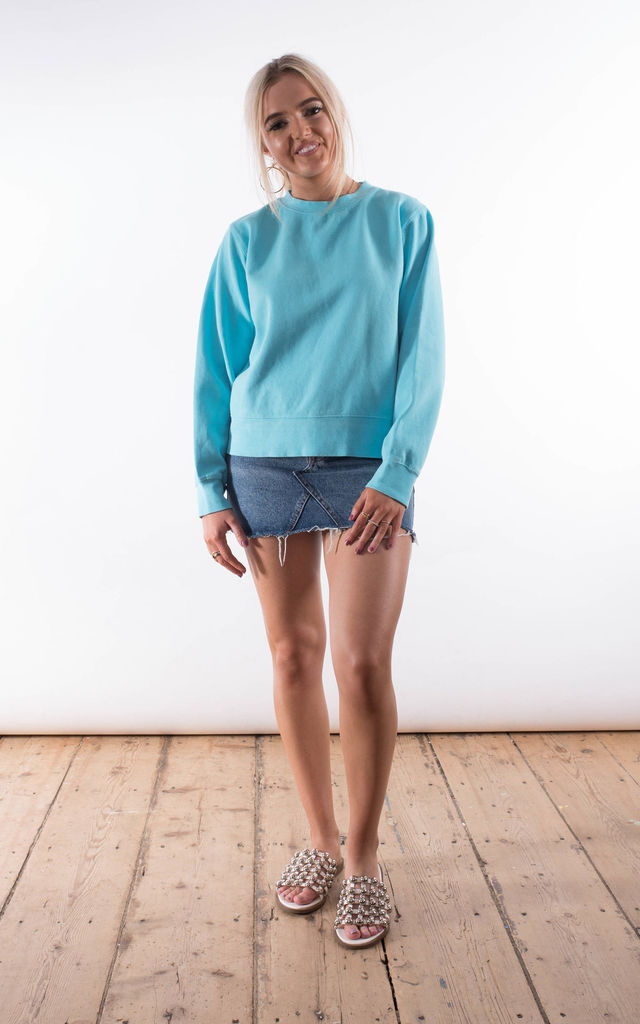 Turquoise Crew Neck Sweater by Rock On Ruby