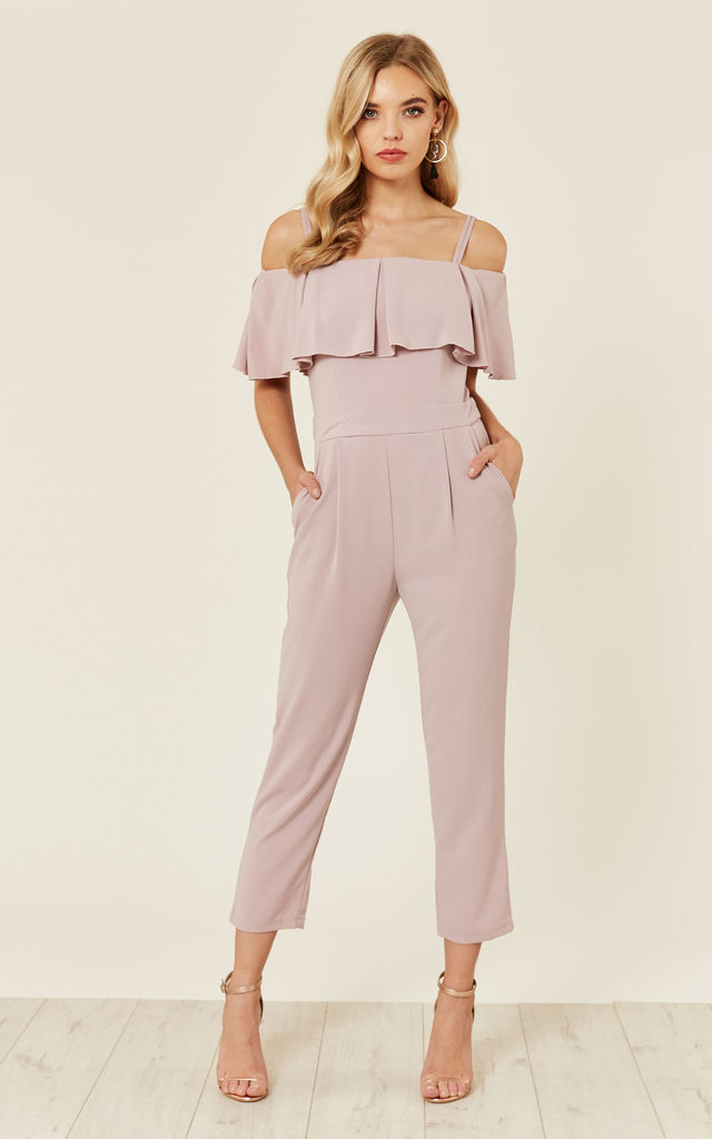 68cc21a264 Lilac Ruffle Bardot Jumpsuit by Oeuvre